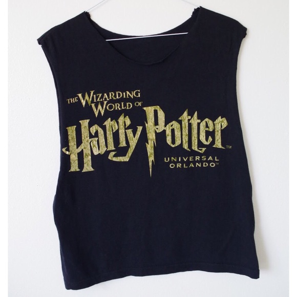 74a2f976 Vintage Tops   Harry Potter Gold Raw Edge Muscle Tank   Poshmark